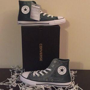 Girls Converse All Star Velvet High Top Sneakers